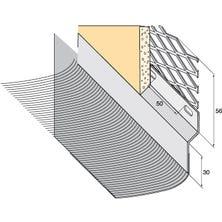 Solin pleisterrand Zink naturel + geplooid loden strip naturel, 145mm